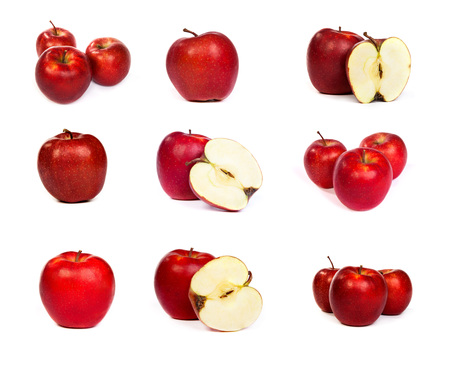 set of shiny red apples isolated on a white background photo