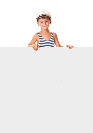 jung: Boy holding a banner isolated on white background