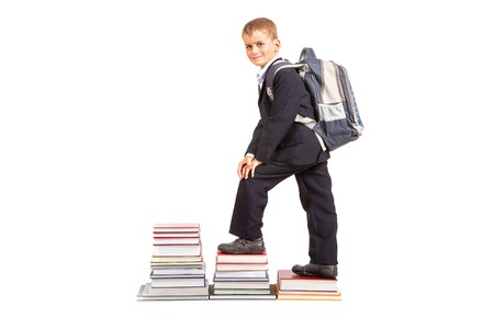 Education success graph - successful schoolboy isolated on white background. Back to school photo