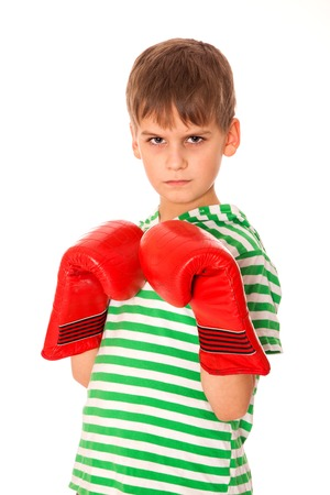 pugilist: Angry boy pugilist isolated on a white background Stock Photo