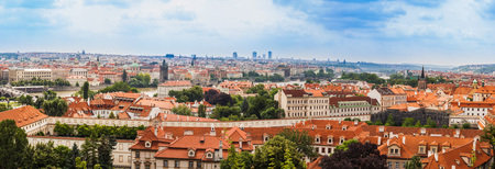 �ityscape of Prague city. Panoramic view. One of the most beautiful city in Europe photo