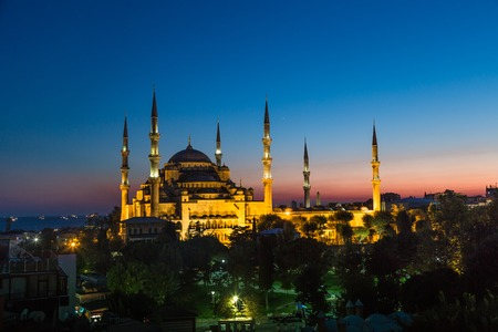 Blue Mosque in Istanbul, Turkey View at early evening photo