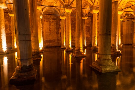 ISTANBUL, TURKEY - MAY 14 : The Basilica Cistern is the largest of several hundred ancient cisterns that lie beneath the city on May 14, 2013 in Istanbul, Turkey.