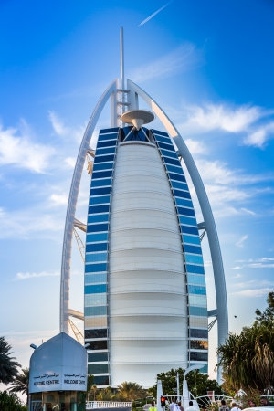 DUBAI, UAE - NOVEMBER 14 :The worlds first seven stars luxury hotel Burj Al Arab, November 14, 2012 in Dubai, United Arab Emirates