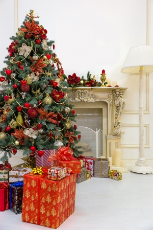 Decorated Christmas tree and gift boxes in living room Stock Photo - 23784476