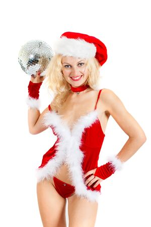 Sexy santa helper with big disco ball isolated on a white background photo