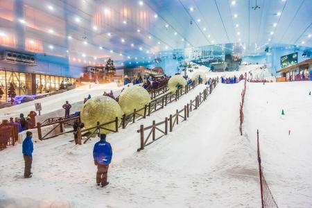 mall of the emirates: DUBAI, UAE - APRIL 6: Ski on April 6, 2013 in Dubai. Ski Dubai--is an indoor ski resort with 22,500 square meters of indoor ski area. It is a part of the Mall of the Emirates Editorial