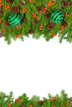 Christmas background with balls and decorations isolated on white background photo