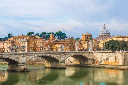 Saint Peters basilica and Saint Angelo bridge in Rome