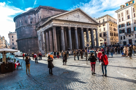 emporium: ROME - DECEMBER 2: Tourists visit the Pantheon on December 2, 2013 in Rome, Italy. Pantheon is a famous monument of ancient Roman culture, the temple of all the gods, built in the 2nd century. Editorial