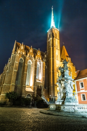 Cathedra at night in Wroclaw, Poland photo