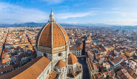 duomo: Rooftop view of medieval Duomo cathedral in Florence Stock Photo