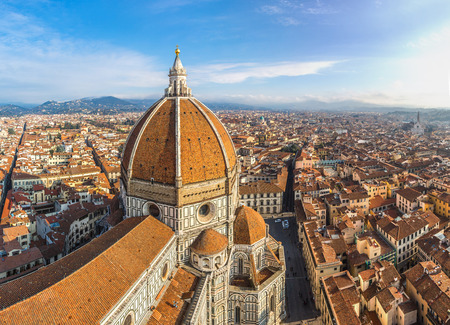 fiore: Rooftop view of medieval Duomo cathedral in Florence Stock Photo