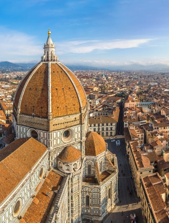 firenze: Rooftop view of medieval Duomo cathedral in Florence Stock Photo