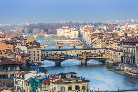 italy street: Houses, Arno River and bridges of Florence, Tuscany, Italy