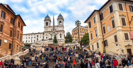 ROME - CIRCA DECEMBER 2013: The Spanish Steps, seen from Spanish square (Piazza di Spagna) circa December 2013, Rome.The Spanish Steps are the widest staircase in Europe.