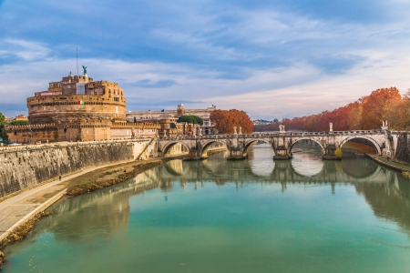 The fortress of SantAngelo and its reflection in river Tevere, Rome.