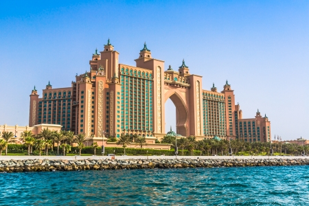 DUBAI, UAE - NOVEMBER 13: Atlantis hotel on November 13, 2012 in Dubai, UAE. Atlantis the Palm is a luxury 5 star hotel built on an artificial island