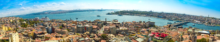 istanbul beach: Panoramic view from Galata tower to Golden Horn, Istanbul, Turkey Editorial