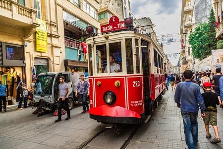 eventide: ISTANBUL, TURKEY - MAY 14 : Taksim Istiklal Street at eventide on May 14, 2013 in Istanbul, Turkey. Taksim Istiklal Street is a popular destination in Istanbul.