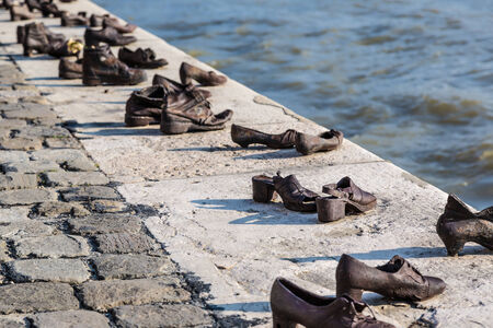 Shoes symbolizing the massacre of people shot at the river Danube in Budapest