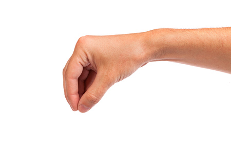 Well shaped male hand reaching for something isolated on a white background photo