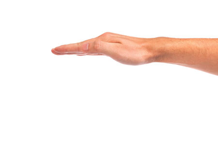 Open palm hand gesture of male hand. Isolated on a  white background. photo