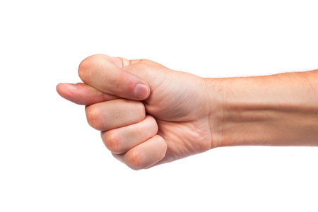 Hand is showing a fig sign isolated on a white background photo