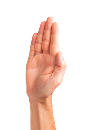 male palm: Male palm hand gesture, isolated on a white background
