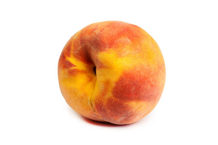 One perfect, ripe peache isolated on a white background. photo