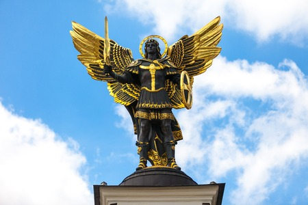 Monument of Angel in Kiev, independence square. Downtown of a capital