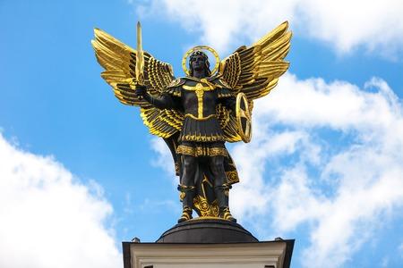 Památník Anděl v Kyjevě, náměstí Nezávislosti. Downtown z kapitálu Reklamní fotografie