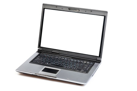 Open laptop showing keyboard and screeN photo