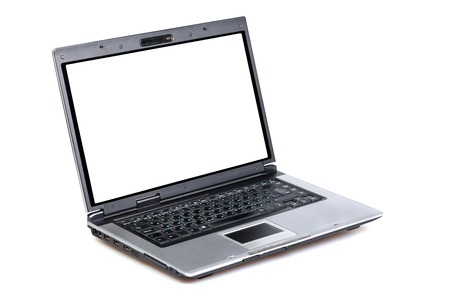 ibook: Open laptop showing keyboard and screen  isolated on white background