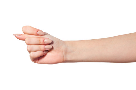 obscene: Hand is showing a fig sign isolated on a white background Stock Photo