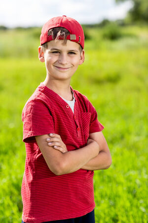 Boy Child Portrait Smiling Cute ten years old outdoor photo