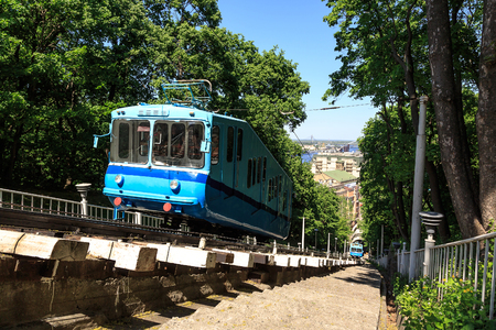 tramcar: Cable railway in Kyiv, Ukraine, that climbs up the steep right bank of the Dnieper River.