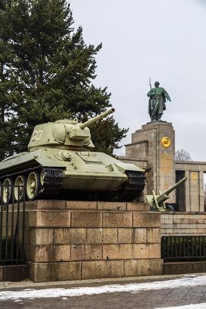 BERLIN - DECEMBER. 16: Russian tank of the WWII at the Sowjetisches Ehrenmarl (soviet memorial) in the Tiergarten, Berlin. December 16, 2012 in Berlin, Germany