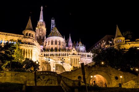 halaszbastya: Fishermans Bastion at night in Budapest Hungary
