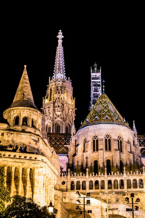 bastion: Fishermans Bastion at night in Budapest Hungary