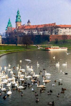 wawel: View of the ancient Krakows castle. Wawel Castle and Wistula . Krakow Poland. Editorial