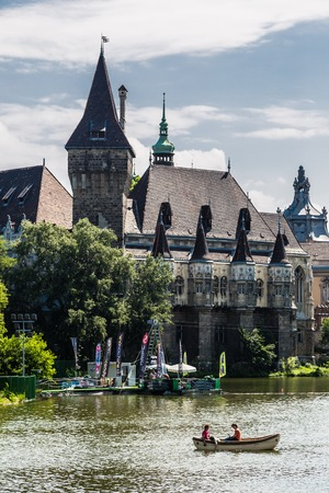 millennial: BUDAPEST - JULY 22: Vajdahunyad castle. It was built between 1896 and 1908 as part of the Millennial Exhibition on July 22, 2013 in Budapest.