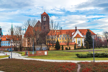 panorama of old town of Wroclaw, Poland photo
