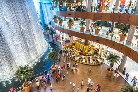 mall of the emirates: DUBAI, UAE - OCTOBER 1: Waterfall in Dubai Mall - worlds largest shopping mall based on total area and sixth largest by gross leasable area, October 1, 2012 in Dubai, United Arab Emirates.