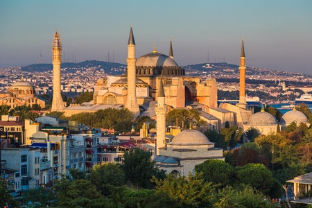 The Beautiful Hagia Sofia in Istanbul. One of most famous mosque, also marked as one of Asian 7th wonders located in Istanbul, Turkey 新闻类图片