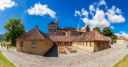 OSLO, NORWAY - JULY 29: Akershus Fortress in Oslo is one of the oldest and finest cultural heritage sites in Norway in Oslo, Norway on July 29, 2014