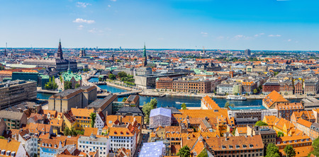 Large panorama view of Copenhagen in Denmark Stok Fotoğraf