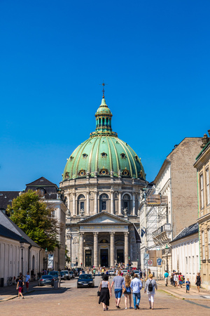 popularly: COPENHAGEN, DENMARK - JULY 25: Frederiks Church, popularly known as The Marble Church for its rococo architecture, is an Evangelical Lutheran church in Copenhagen, Denmark on July 25, 2014 Editorial
