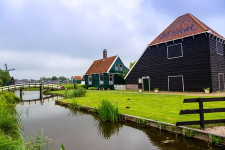 zaanse: Beautiful Zaanse Schans village in Netherlands (Holland). Stock Photo