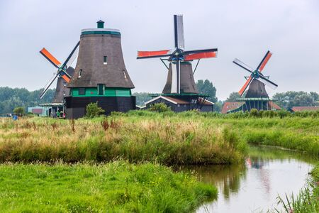 wind mills: Wind mills in Zaanse Schans, Netherland. Holland Stock Photo